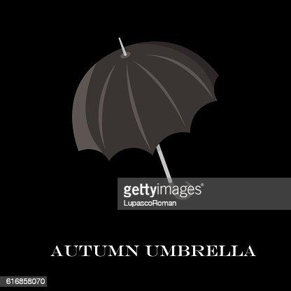 Umbrella closeup. Black icon. isolated background. cartoon flat style : Vector Art