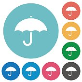 Umbrella flat white icons on round color backgrounds