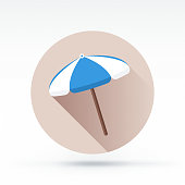 Flat style with long shadows, beach umbrella vector icon