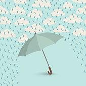 Umbrella over rain. Rainy cloudy sky pattern. Autumn rain background concept