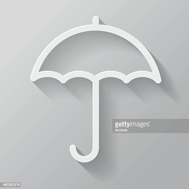 Parasol de papel de interfaz de línea fina icono con larga sombra