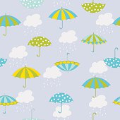 Vector autumn seamless pattern with hand drawn umbrellas, clouds and rain. Can be used for background, card template, fabric print, scrapbook