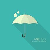 Umbrella sign icon. Rain protection symbol. Concept of protection and security, the rainy season. Spring, autumn, natural phenomena. vector. flat design. minimal.
