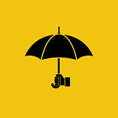 Umbrella silhouette holding in hand human. Black icon Isolated on yellow background. Vector illustration flat style design. Rain protection.
