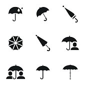 Umbrella vector icons. Simple illustration set of 9 umbrella elements, editable icons, can be used in logo, UI and web design