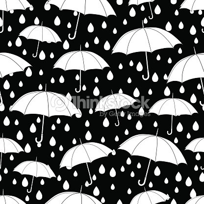 Umbrellas Seamless Pattern Coloring Book Monochrome Illustration Vector Background White And