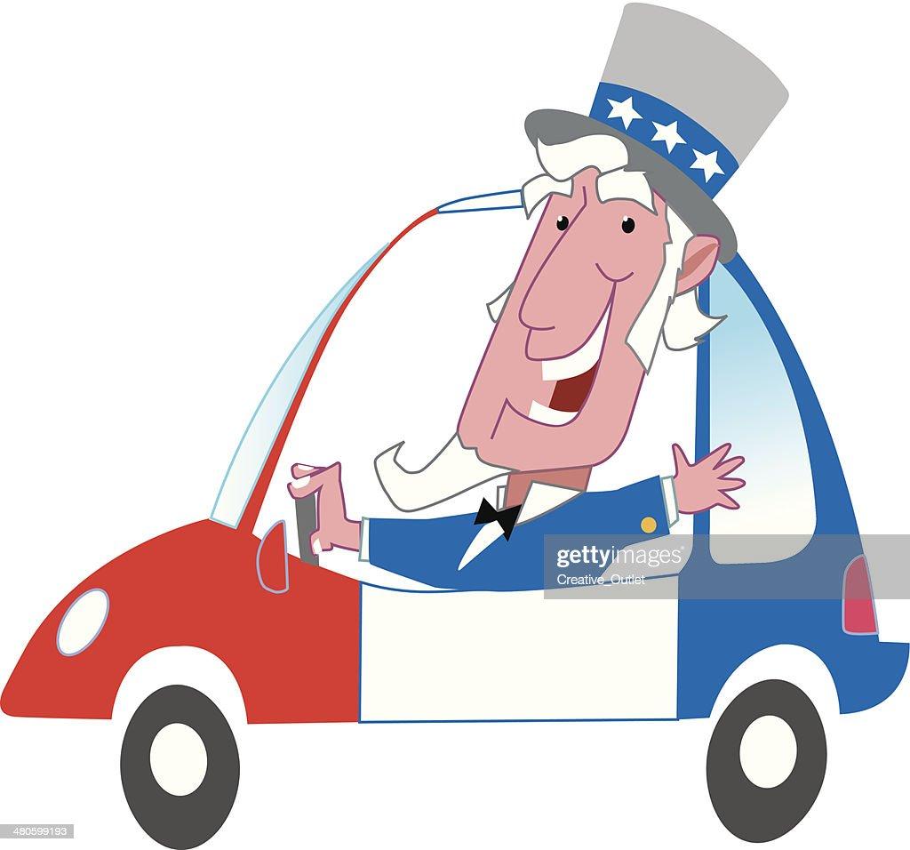 Uncle Sam Car C : Vector Art