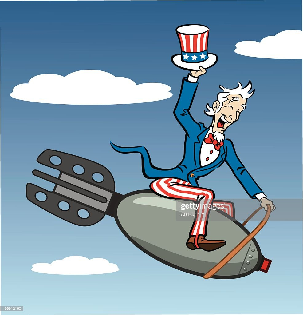 Uncle Sam Riding Bomb : Vector Art