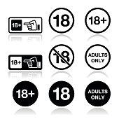 Attention - under eighteen forbidden icons set