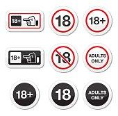 Attention - under eighteen forbidden labels set