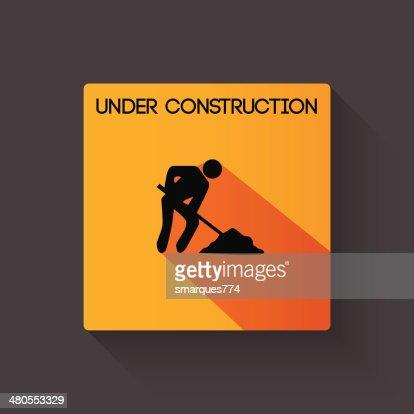 Em construção longa sombra ilustração : Arte vetorial