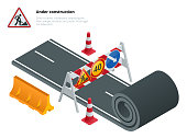 Under construction of road. Under construction sign. Maintenance and construction of pavement. Flat vector isometric illustration.