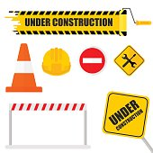 Under construction set. Icon for website under construction sign. 404 page, work in progress. Flat vector cartoon illustration. Objects isolated on a white background.