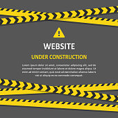 Under construction set. Website developed and not temporarily working for visitors. Vector flat style illustration with copy space for text