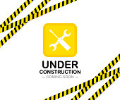 Under construction sign. Vector stock illustration for website