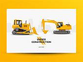 Under Construction Website Web Banner Template. Modern Styled Vector Illustration.
