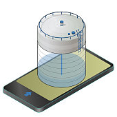 Underground water reservoir isometric building info graphic in mobile phone. Big water subterranean reservoir in communication technology. Water supply resource. Vector pictogram industrial building.