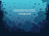 Underwater Background with Fishes and Sea plants and Corals