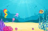 Underwater cartoon background with fish, sand, seaweed, pearl, jellyfish, coral, starfish, octopus, sea horse Ocean sea life cute design Vector illustration