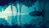 Silhouette of cartoon submarine, coral reef, fishes and underwater sea cave. Vector nature illustration. Ocean wildlife.