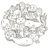 Underwater circle shape pattern for coloring book. Cute sea animals. Vector illustration