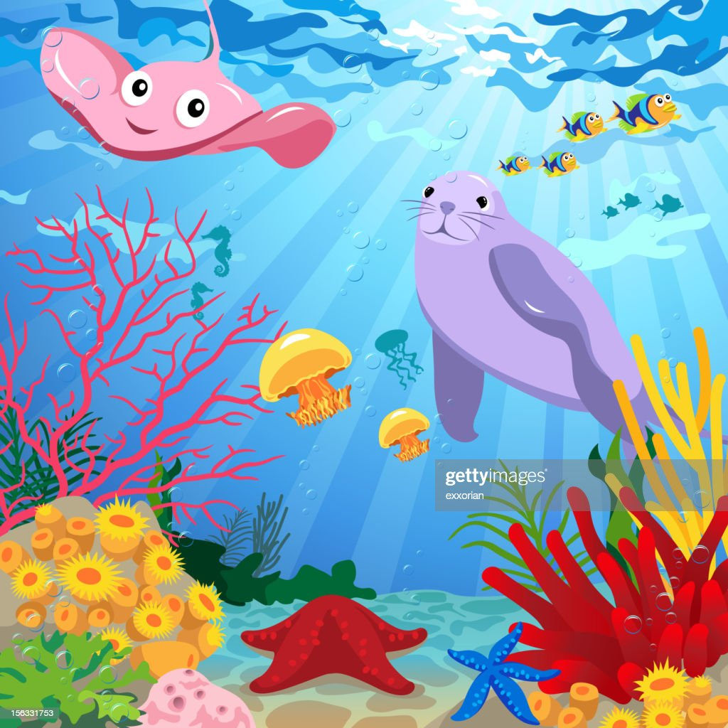 underwater scene with sea life vector art getty images