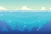 Underwater cartoon seamless landscape, sea vector background