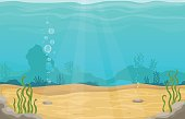 Underwater world in sea vector cartoon landscape