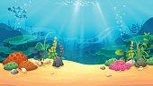 Underwater world, vector art and illustration.