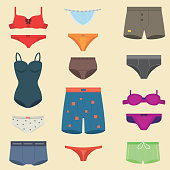 Underwear clothes for man and woman vector icon isolated for design. Elegance bikini line accessories. Beautiful body coat sensuality collection.