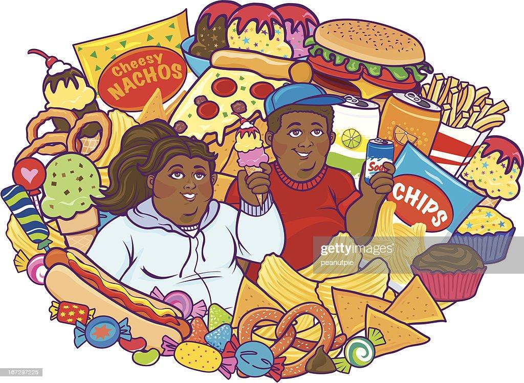 Unhealthy Eating Children Black : Vector Art
