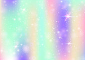 Unicorn background with rainbow mesh. Liquid universe banner in princess colors. Fantasy gradient backdrop with hologram. Holographic unicorn background with magic sparkles, stars and blurs.