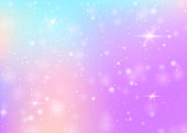 Magic background with rainbow mesh. Mystical universe banner in princess colors. Fantasy gradient backdrop with hologram. Holographic magic background with fairy sparkles, stars and blurs.