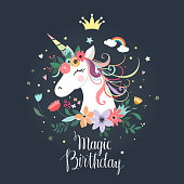 Unicorn birthday card with hand drawn letters and decorative flowers