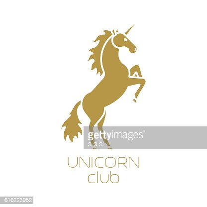 Unicorn club isolated logotype design : Clipart vectoriel