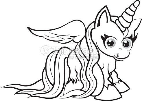 Unicornio Para Colorear Página Para Niños Arte vectorial   Thinkstock