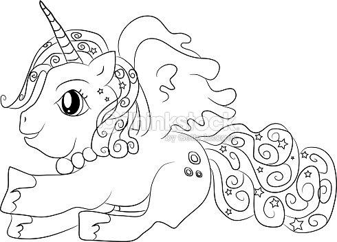 Unicornio Para Colorear Página Para Niños Arte vectorial | Thinkstock