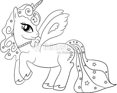 Unicornopagina da colorare per i bambini arte vettoriale - Libero unicorno pagine da colorare ...