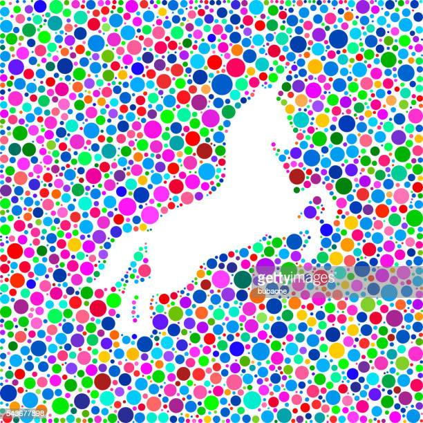 Unicorn Icon on Color Circle Background Pattern
