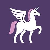 Winged unicorn vector illustration. Stylized mythical creature silhouette.