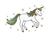 Hand drawn unicorn with stars isolated on white background. Beautiful galloping horse icon. Color vector illustration