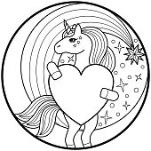 Unicorn black round print on white background. Animal fairytale composition for textile prints, tattoo, birthday and valentines cards, coloring pages.