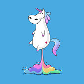 Cute fat unicorn farting rainbow funny vector cartoon illustration