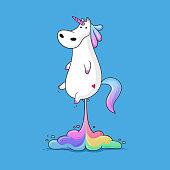 Cute fat unicorn farting rainbow funny vector cartoon illustration