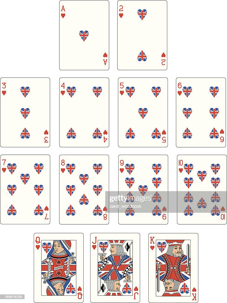 Union Jack Heart Suit Playing Cards : Vector Art