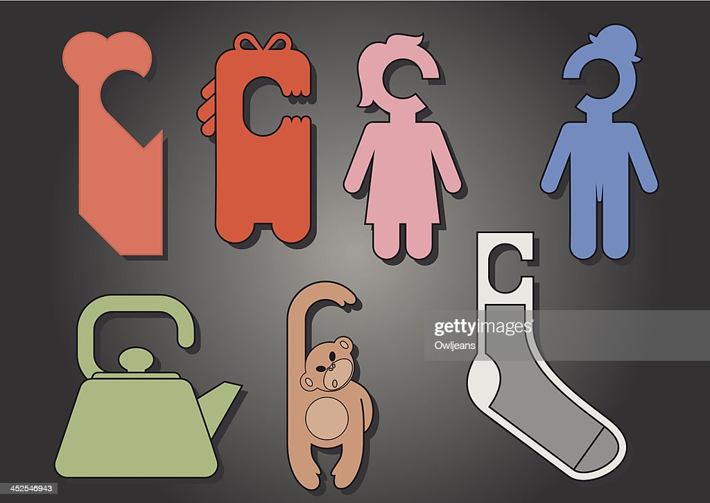 Unique forms for notes that hang on the door handles  Vector Art & Unique Forms For Notes That Hang On The Door Handles Vector Art ...