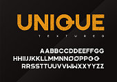 Unique vector grunge textured industrial display typeface, uppercase letters, alphabet, font, typography. Global swatches