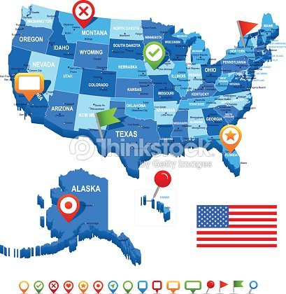 Unite states map flag and navigation icons illustration vector art unite states usa map flag and navigation icons illustration vector sciox Choice Image