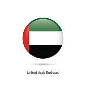 United Arab Emirates flag - round glossy button. Vector Illustration.