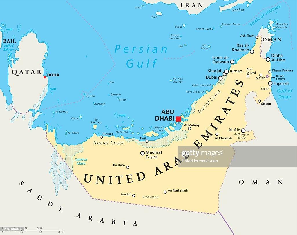 Uae United Arab Emirates Political Map Vector Art Thinkstock